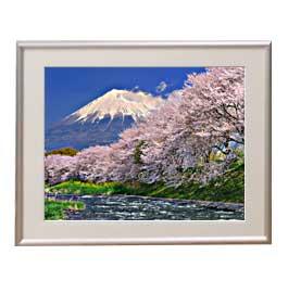富士山-桜- アートフレーム:色シルバー サイズM 511×418mm 【油絵 直筆仕上げ絵画】【布キャンバス・額表面保護板】 油彩 風景画 オリジナルインテリア絵画 風水画