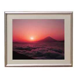 富士山 (1) アートフレーム:色シルバー サイズS 310×260mm 【油絵 直筆仕上げ絵画】【布キャンバス・額表面保護板】 油彩 風景画 オリジナルインテリア絵画 風水画