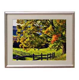 秋のはじまり アートフレーム:色シルバー サイズS 310×260mm 【油絵 直筆仕上げ絵画】【布キャンバス・額表面保護板】 油彩 風景画 オリジナルインテリア絵画 風水画