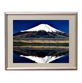 富士山(3) アートフレーム:色シルバー サイズS 310×260mm 【油絵 直筆仕上げ絵画】【布キャンバス・額表面保護板】 油彩 風景画 オリジナルインテリア絵画 風水画