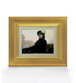 クラムスコイ 忘れえぬ人 F0サイズ 【油絵 直筆仕上げ 複製画】【額縁付】 絵画 販売 油彩 人物画 316×271mm 送料無料