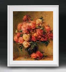 ルノワール Bouquet of Roses ばら アートフレーム サイズL 【油絵 直筆仕上げ 複製画】【油彩 布キャンバス 国内生産】 絵画 販売 静物画 641×531mm 送料無料 (ルノアール)