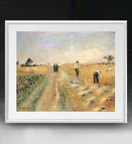 ルノワール The Harvesters アートフレーム サイズL 【油絵 直筆仕上げ 複製画】【油彩 布キャンバス 国内生産】 絵画 販売 風景画 641×531mm 送料無料 (ルノアール)