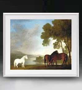 スタップス Two Bay Mares And A Grey Pony アートフレーム サイズL 【油絵 直筆仕上げ 複製画】【油彩 布キャンバス 国内生産】 絵画 販売 風景画 641×531mm 送料無料