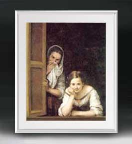 ムリーリョ Two Women at a Window アートフレーム サイズL 【油絵 直筆仕上げ 複製画】【油彩 布キャンバス 国内生産】 絵画 販売 人物画 641×531mm 送料無料