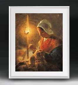 ミレー ランプのもとで縫い物をする女性 アートフレーム サイズL 【油絵 直筆仕上げ 複製画】【油彩 布キャンバス 国内生産】 絵画 販売 人物画 641×531mm 送料無料