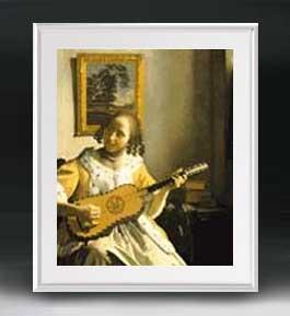 フェルメール ギターを弾く女 アートフレーム サイズL 【油絵 直筆仕上げ 複製画】【油彩 布キャンバス 国内生産】 絵画 販売 人物画 641×531mm 送料無料