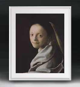 フェルメール 若い女の肖像 アートフレーム サイズL 【油絵 直筆仕上げ 複製画】【油彩 布キャンバス 国内生産】 絵画 販売 人物画 641×531mm 送料無料