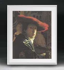 フェルメール 赤い帽子の少女 アートフレーム サイズL 【油絵 直筆仕上げ 複製画】【油彩 布キャンバス 国内生産】 絵画 販売 人物画 641×531mm 送料無料
