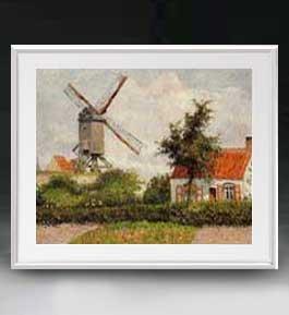 カミーユ・ピサロ Windmill at Knocke, Belgium アートフレーム サイズL 【油絵 直筆仕上げ 複製画】【油彩 布キャンバス 国内生産】 絵画 販売 風景画 641×531mm 送料無料