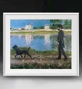 カイユボット リチャードギャロと彼の犬、プチジェヌヴィリエにて アートフレーム サイズL 【油絵 直筆仕上げ 複製画】【油彩 布キャンバス 国内生産】 絵画 販売 風景画 641×531mm 送料無料