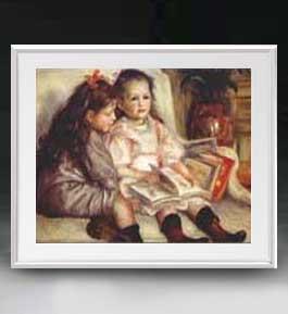 ルノワール ふたりの子供の肖像 アートフレーム サイズL 【油絵 直筆仕上げ 複製画】【油彩 布キャンバス 国内生産】 絵画 販売 人物画 641×531mm 送料無料 (ルノアール)