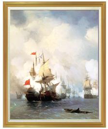 Battle of Chios on 24 June, 1770 Ivan Aivazovsky F50 【油絵 直筆仕上げ 複製画】【油彩 キャンバス 国内生産 表面インテリア】絵画 販売 50号 風景画 1303×1047mm 送料無料
