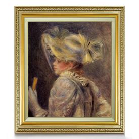 ルノワール 白い帽子の女 F10 【油絵 直筆仕上げ 複製画】【額縁付】 絵画 販売 10号 油彩 人物画 673×599mm 送料無料