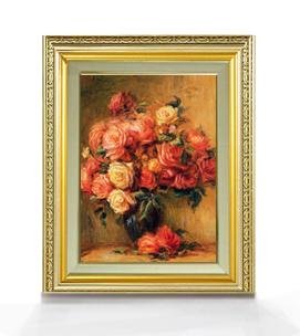ルノワール Bouquet of Roses ばら F4  【油絵 直筆仕上げ 複製画】【額縁付】 絵画 販売  4号 油彩 静物画 477×390mm 送料無料