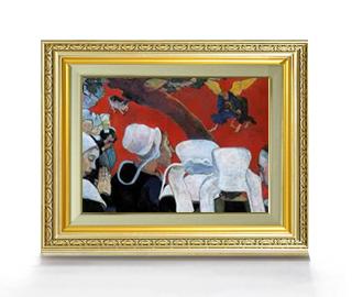 送料無料 油絵 直筆仕上げ インテリア 壁掛 プレゼント ギフト ゴーギャン 説教のあとの幻影 477×390mm 複製画 風景画 油彩 激安価格と即納で通信販売 4号 額縁付 F4 絵画 販売 期間限定送料無料