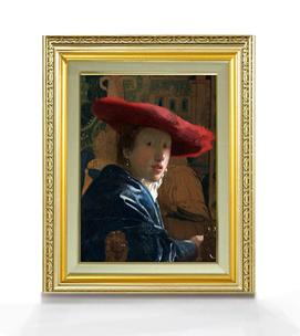 フェルメール 赤い帽子の女 F4  【油絵 直筆仕上げ 複製画】【額縁付】 絵画 販売  4号 油彩 人物画 477×390mm 送料無料