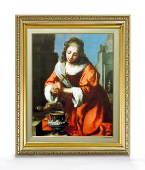 フェルメール Saint Praxidis F6  【油絵 直筆仕上げ 複製画】【額縁付】 絵画 販売  6号 油彩 人物画 554×463mm 送料無料