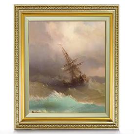 アイヴァゾフスキー 嵐の中の船 F8  【油絵 直筆仕上げ 複製画】【額縁付】 絵画 販売 8号 油彩 風景画 598×524mm 送料無料