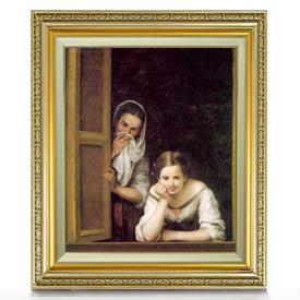 ムリーリョ Two Women at a Window F8 【油絵 直筆仕上げ 複製画】【額縁付】 絵画 販売 8号 油彩 人物画 598×524mm 送料無料