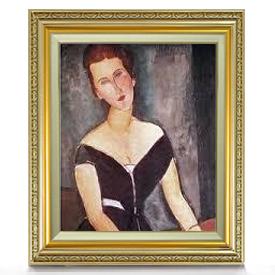 モディリアーニ ヴァン・ムイデン夫人の肖像 F8 【油絵 直筆仕上げ 複製画】【額縁付】 絵画 販売 8号 油彩 人物画 598×524mm 送料無料