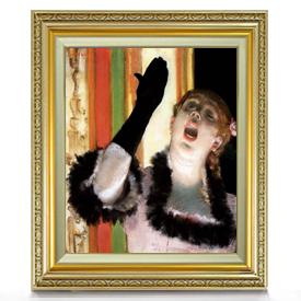 ドガ カフェの歌い手 F8 【油絵 直筆仕上げ 複製画】【額縁付】 絵画 販売 8号 油彩 人物画 598×524mm 送料無料