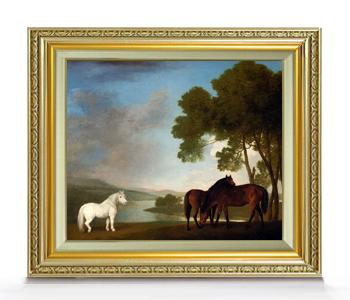 スタップス Two Bay Mares And A Grey Pony F8  【油絵 直筆仕上げ 複製画】【額縁付】 絵画 販売 8号 油彩 風景画 598×524mm 送料無料
