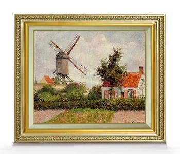 ピサロ Windmill at Knocke, Belgium F8  【油絵 直筆仕上げ 複製画】【額縁付】 絵画 販売 8号 油彩 風景画 598×524mm 送料無料