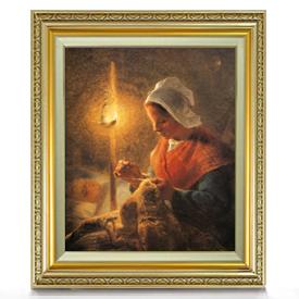 ミレー ランプのもとで縫い物をする女性 F8 【油絵 直筆仕上げ 複製画】【額縁付】 絵画 販売 8号 油彩 人物画 598×524mm 送料無料
