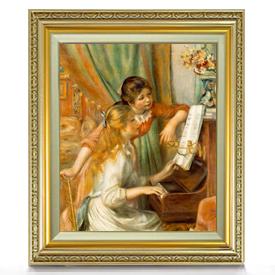 ルノワール ピアノに寄る少女たち F8 【油絵 直筆仕上げ 複製画】【額縁付】 絵画 販売 8号 油彩 人物画 598×524mm 送料無料