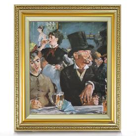 マネ カフェにて(2) F8 【油絵 直筆仕上げ 複製画】【額縁付】 絵画 販売 8号 油彩 人物画 598×524mm 送料無料