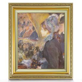 ルノワール 初めての夜の外出 F8 【油絵 直筆仕上げ 複製画】【額縁付】 絵画 販売 8号 油彩 人物画 598×524mm 送料無料