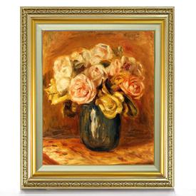 ルノワール Roses in a Blue Vase F8 【油絵 直筆仕上げ 複製画】【額縁付】 絵画 販売 8号 油彩 静物画 598×524mm 送料無料