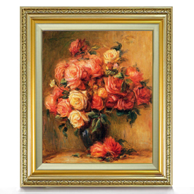 ルノワール Bouquet of Roses ばら F8 【油絵 直筆仕上げ 複製画】【額縁付】 絵画 販売 8号 油彩 静物画 598×524mm 送料無料