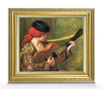 ルノワール ギターとスペインの女 F8 【油絵 直筆仕上げ 複製画】【額縁付】 絵画 販売 8号 油彩 人物画 598×524mm 送料無料