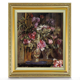 ルノワール 花瓶の花(2) F8 【油絵 直筆仕上げ 複製画】【額縁付】 絵画 販売 8号 油彩 静物画 598×524mm 送料無料