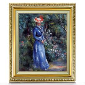 ルノワール 青いドレスの女、サン=クルーの庭にて F8 【油絵 直筆仕上げ 複製画】【額縁付】 絵画 販売 8号 油彩 人物画 598×524mm 送料無料