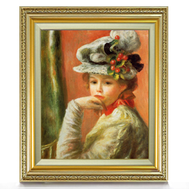 ルノワール 白い帽子の少女 F8 【油絵 直筆仕上げ 複製画】【額縁付】 絵画 販売 8号 油彩 人物画 598×524mm 送料無料