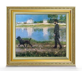 カイユボット リチャードギャロと彼の犬、プチジェヌヴィリエにて F8  【油絵 直筆仕上げ 複製画】【額縁付】 絵画 販売 8号 油彩 風景画 598×524mm 送料無料
