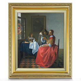 フェルメール ワイングラスを持つ娘 F8 【油絵 直筆仕上げ 複製画】【額縁付】 絵画 販売 8号 油彩 人物画 598×524mm 送料無料