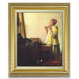 フェルメール 真珠の首飾りの女 F8 【油絵 直筆仕上げ 複製画】【額縁付】 絵画 販売 8号 油彩 人物画 598×524mm 送料無料