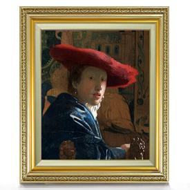 フェルメール 赤い帽子の女 F8 【油絵 直筆仕上げ 複製画】【額縁付】 絵画 販売 8号 油彩 人物画 598×524mm 送料無料
