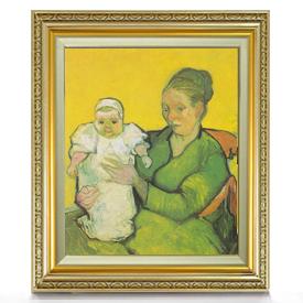 ゴッホ ルーラン夫人と赤ん坊 F8 【油絵 直筆仕上げ 複製画】【額縁付】 絵画 販売 8号 油彩 人物画 598×524mm 送料無料