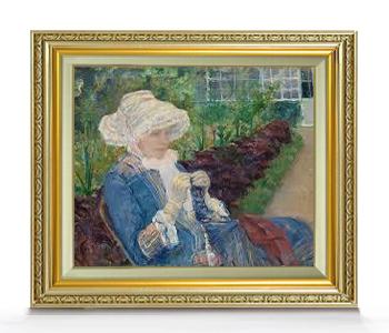 メアリー・カサット Lydia Crocheting in the Garden at Marly F8 【油絵 直筆仕上げ 複製画】【額縁付】 絵画 販売 8号 油彩 人物画 598×524mm 送料無料