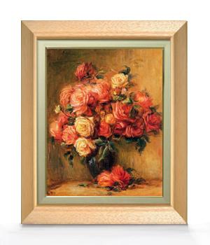 ルノワール Bouquet of Roses ばら F6  【油絵 直筆仕上げ 複製画】【額縁付】 絵画 販売  6号 油彩 静物画 556×465mm 送料無料