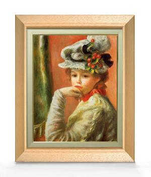 ルノワール 白い帽子の少女 F6  【油絵 直筆仕上げ 複製画】【額縁付】 絵画 販売  6号 油彩 人物画 556×465mm 送料無料