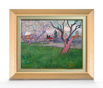 ゴッホ 花咲く木々のあるアルルの眺め F6  【油絵 直筆仕上げ 複製画】【額縁付】 絵画 販売  6号 油彩 風景画 556×465mm 送料無料