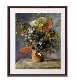 ルノワール Flowers in a Vase アートフレーム サイズL:ブラウン 【油絵 直筆仕上げ 複製画】【油彩 布キャンバス 国内生産】 絵画 販売 静物画 651×541mm 送料無料 (ルノアール)
