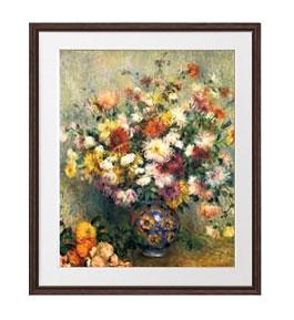 ルノワール Vase of Chrysanthemums アートフレーム サイズL:ブラウン 【油絵 直筆仕上げ 複製画】【油彩 布キャンバス 国内生産】 絵画 販売 静物画 651×541mm 送料無料 (ルノアール)