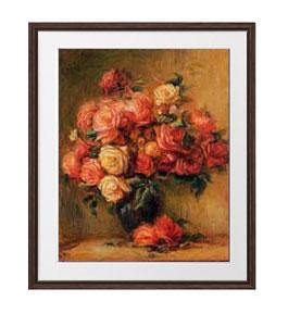ルノワール Bouquet of Roses ばら アートフレーム サイズL:ブラウン 【油絵 直筆仕上げ 複製画】【油彩 布キャンバス 国内生産】 絵画 販売 静物画 651×541mm 送料無料 (ルノアール)
